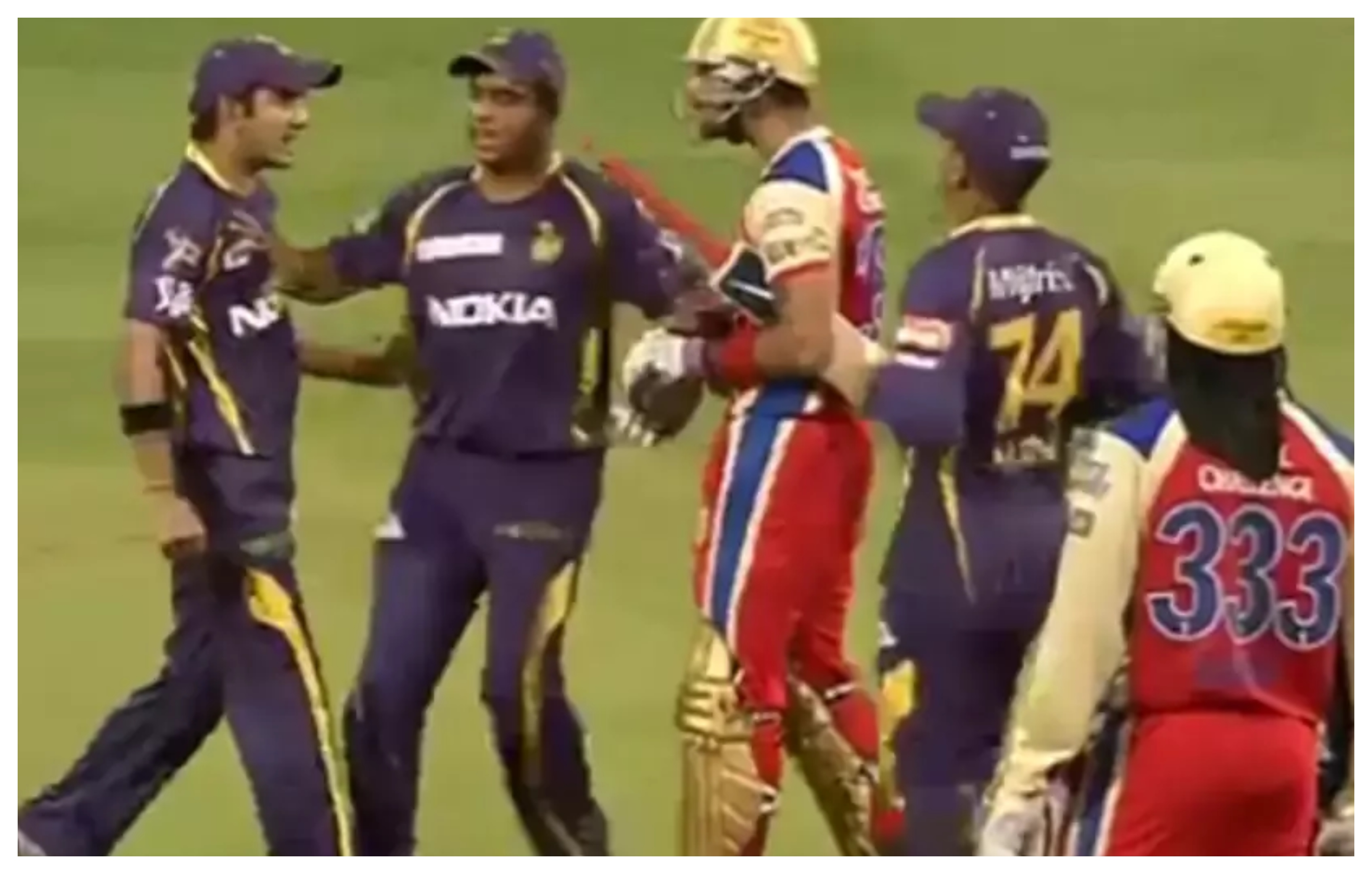 Gautam Gambhir and Virat Kohli involved in an on-field altercation during IPL 2013 | Screengrab