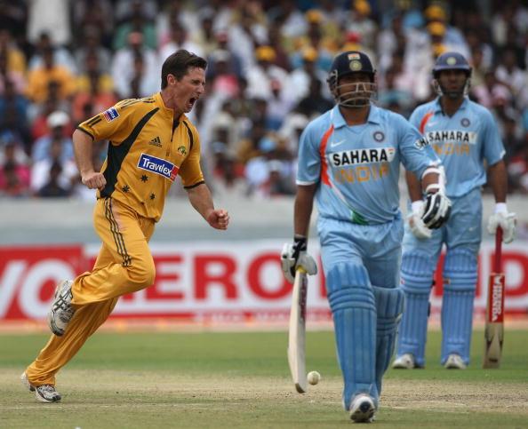 Brad Hogg celebrates Sachin Tendulkar's wicket   Getty