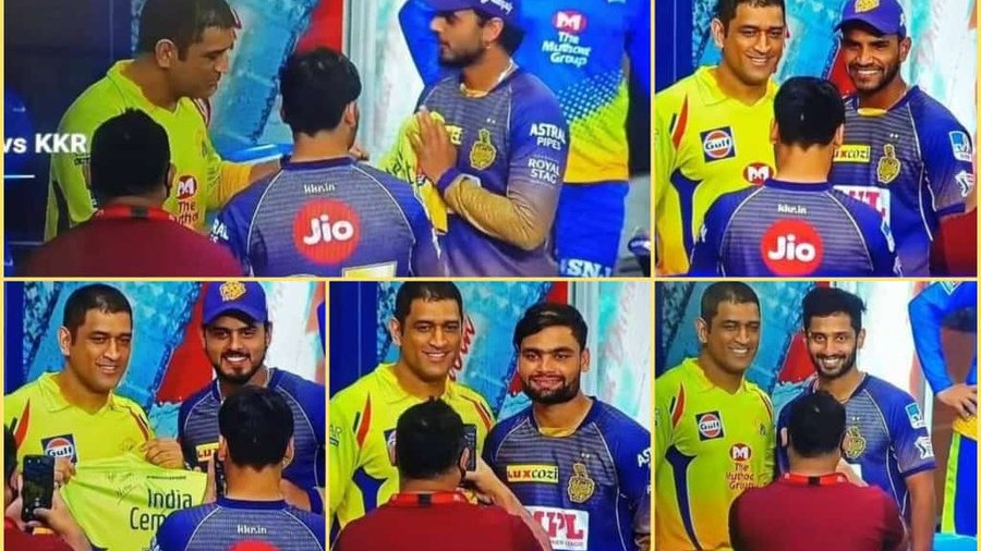IPL 2020: KKR youngsters surround MS Dhoni for pictures; Twitterati reacts
