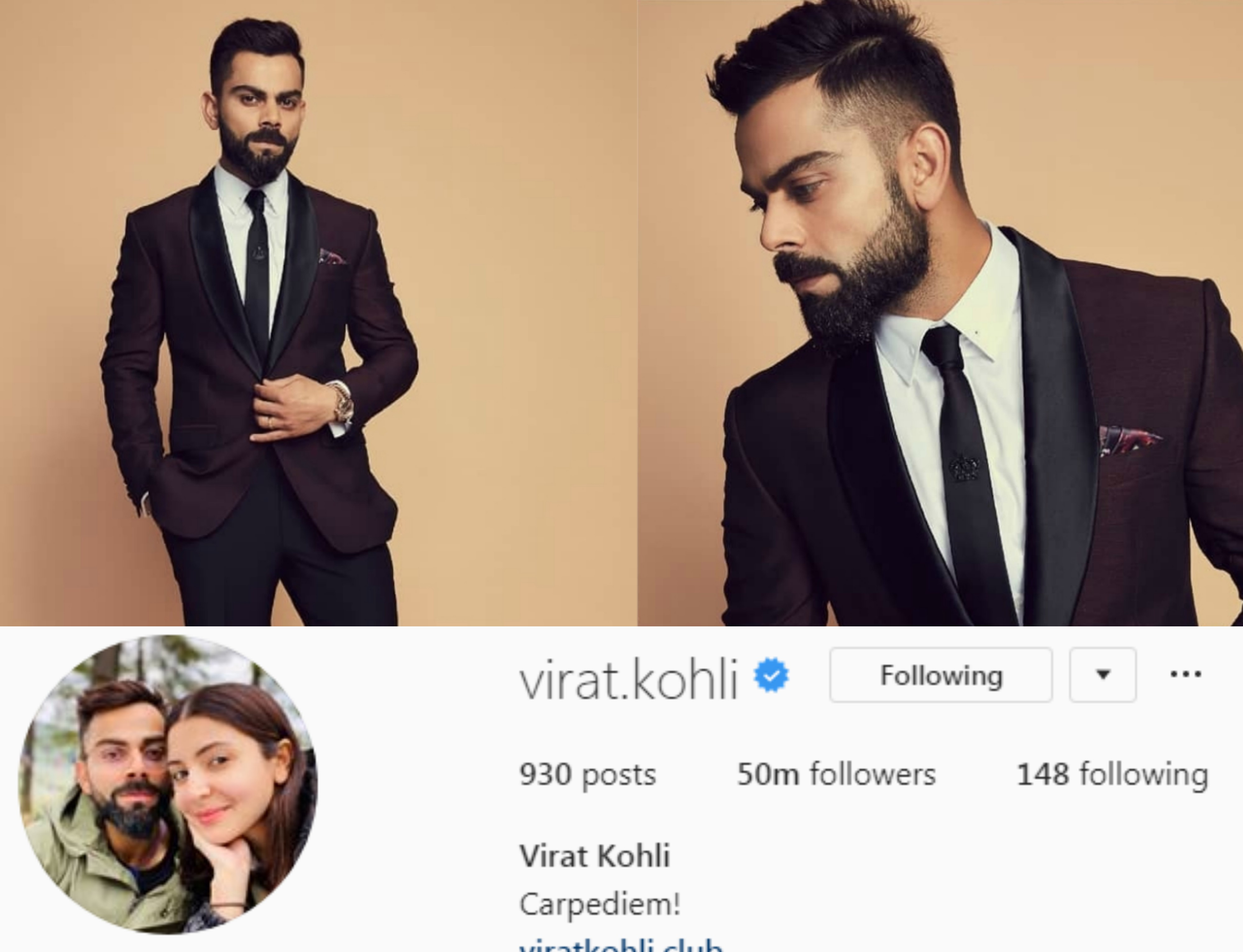Kohli is the 1st Indian with 50M Instagram fans   Instagram