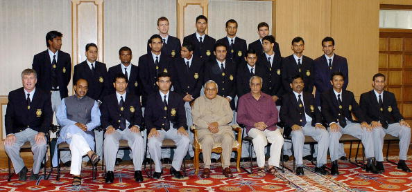 Atal Bihari Vajpayee with the Indian Cricket Team | Getty Images