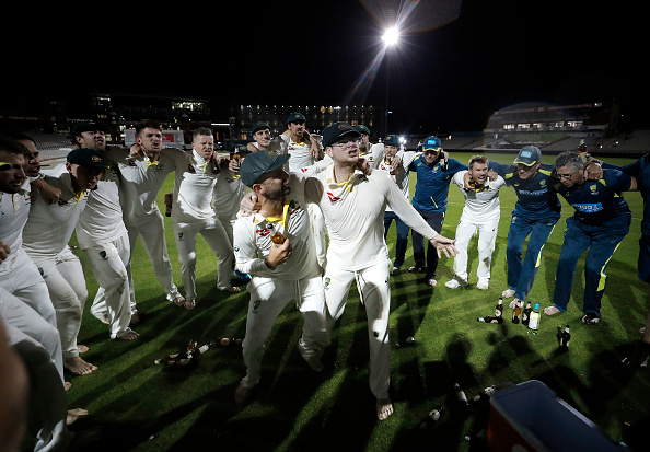 Steve Smith celebrates after retaining the Ashes in Manchester | Getty