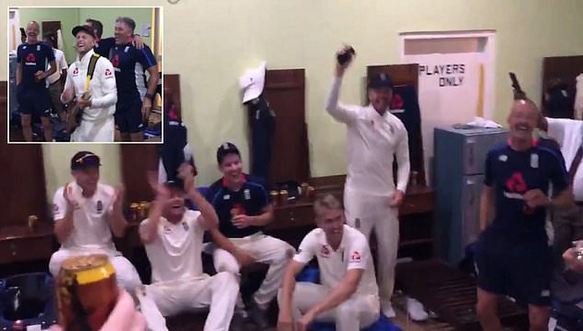 Joe Root and England Team celebrate in the dressing room after 3-0 Test series win in Sri Lanka | ECB