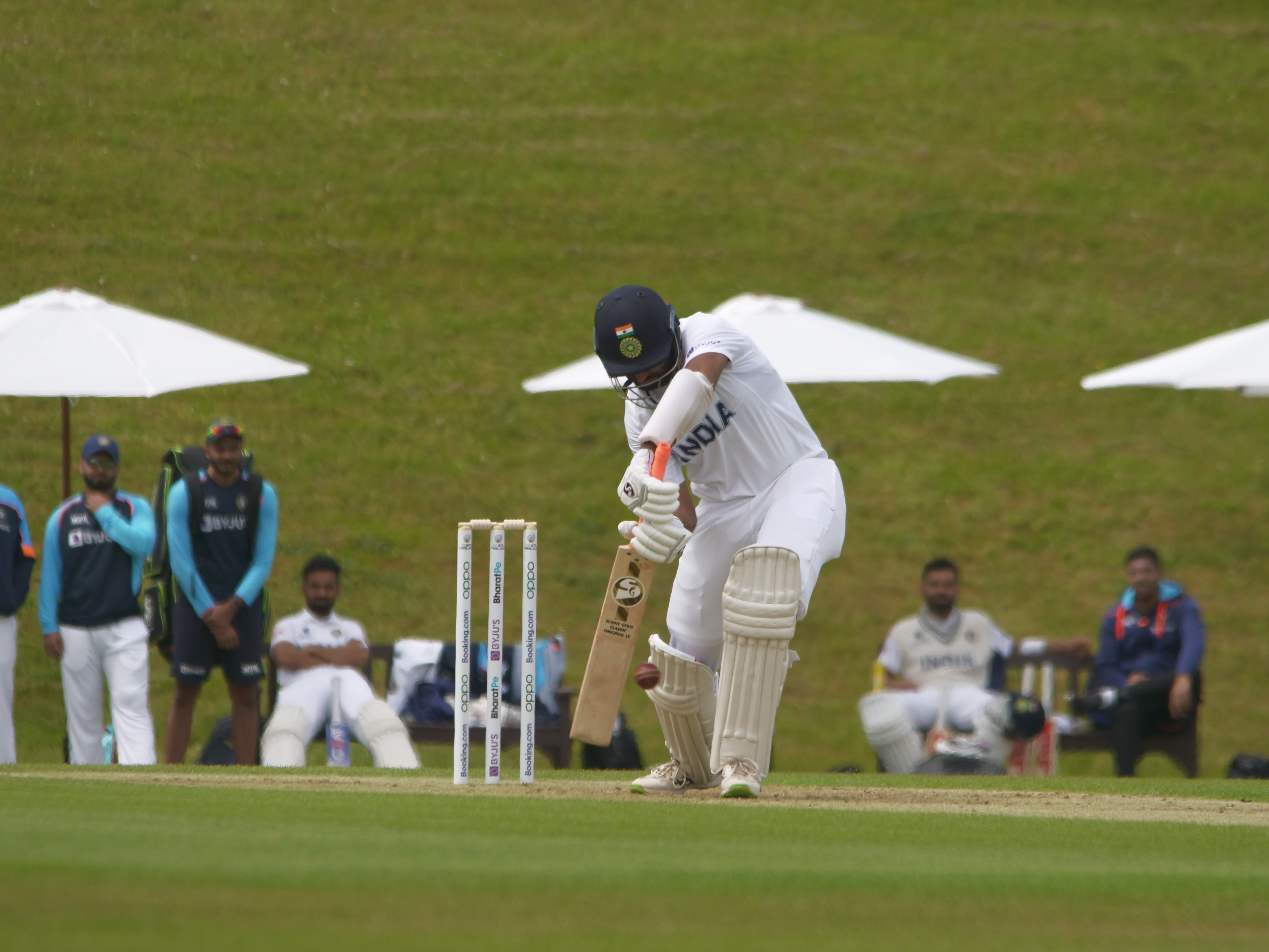 Cheteshwar Pujara plays a shot during an intra-squad game | BCCI Twitter