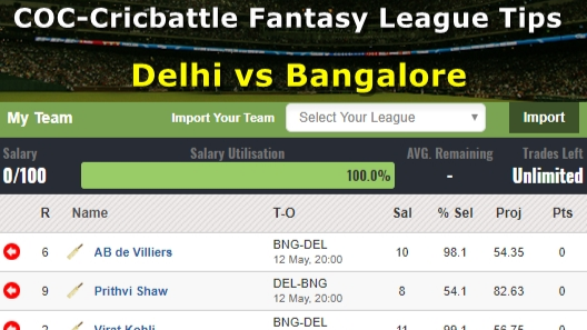 Fantasy Tips - Delhi vs Bangalore on May 12