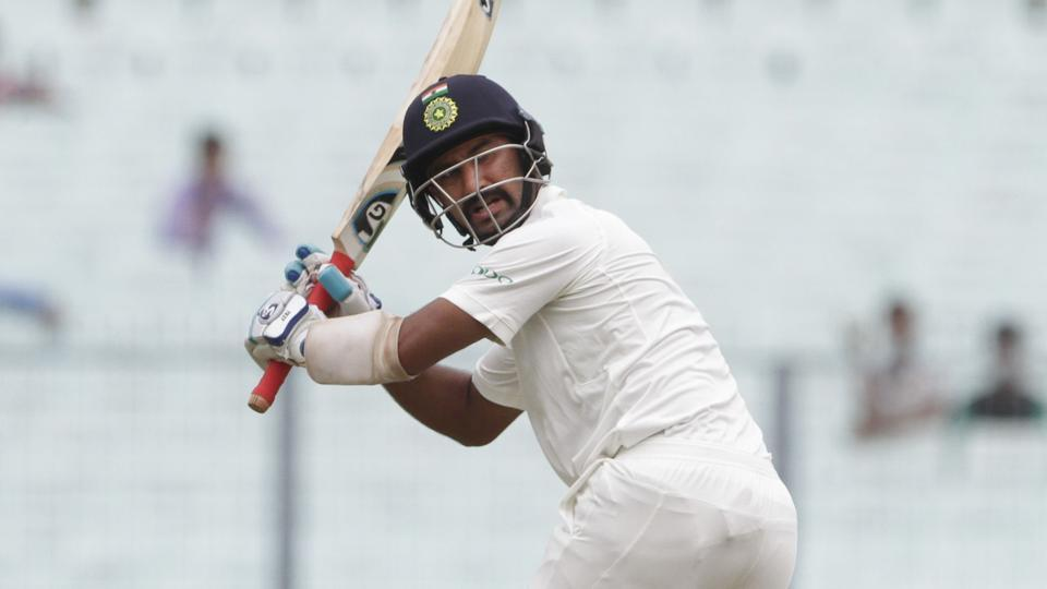 Cheteshwar Pujara struggled hard on a green pitch