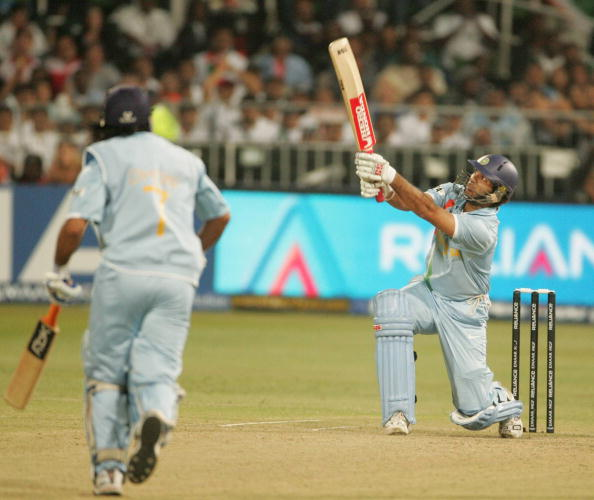 Yuvraj Singh hitting Broad for a six during the T20 World Cup 2007 | Getty Images