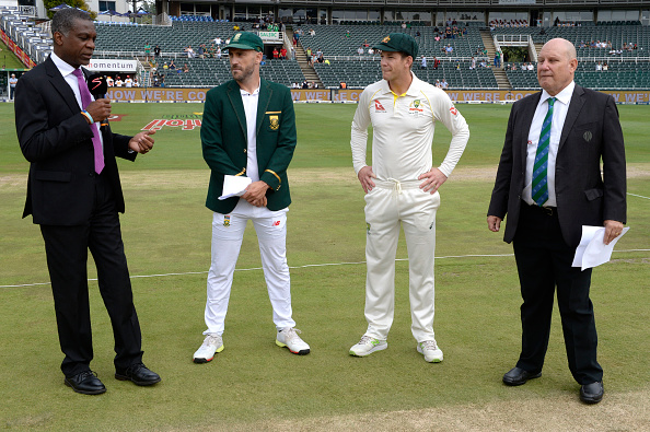 Faf du Plessis and Tim Paine at the toss | Getty