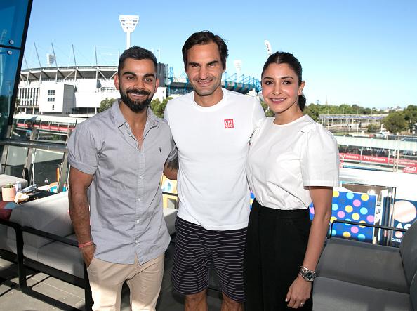 Virat Kohli and wife Anushka Sharma with Tennis star Roger Federer during Australian Open 2019   Getty