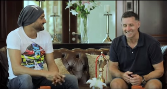 Michael Hussey with Harbhajan Singh | Youtube/Bhajji Blast