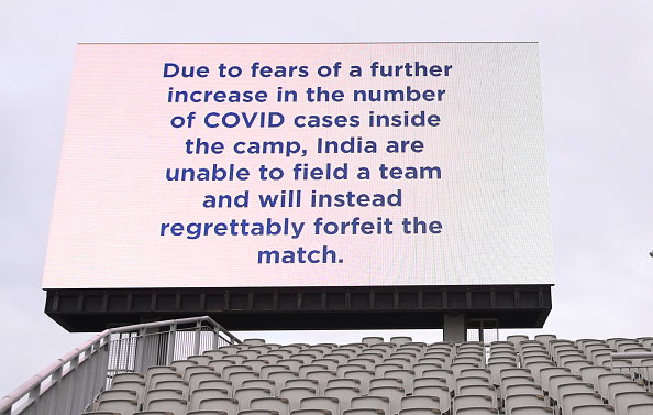 Screen showing confirmation that 5th Test at Manchester was canceled | Getty