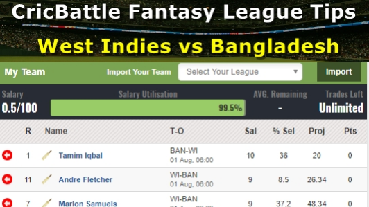 Fantasy Tips - West Indies vs Bangladesh on August 1