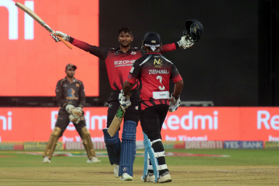 K Gowtham celebrates his amazing century in KPL 2019 match | Twitter
