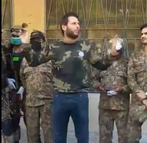 Shahid Afridi during his visit to PoK