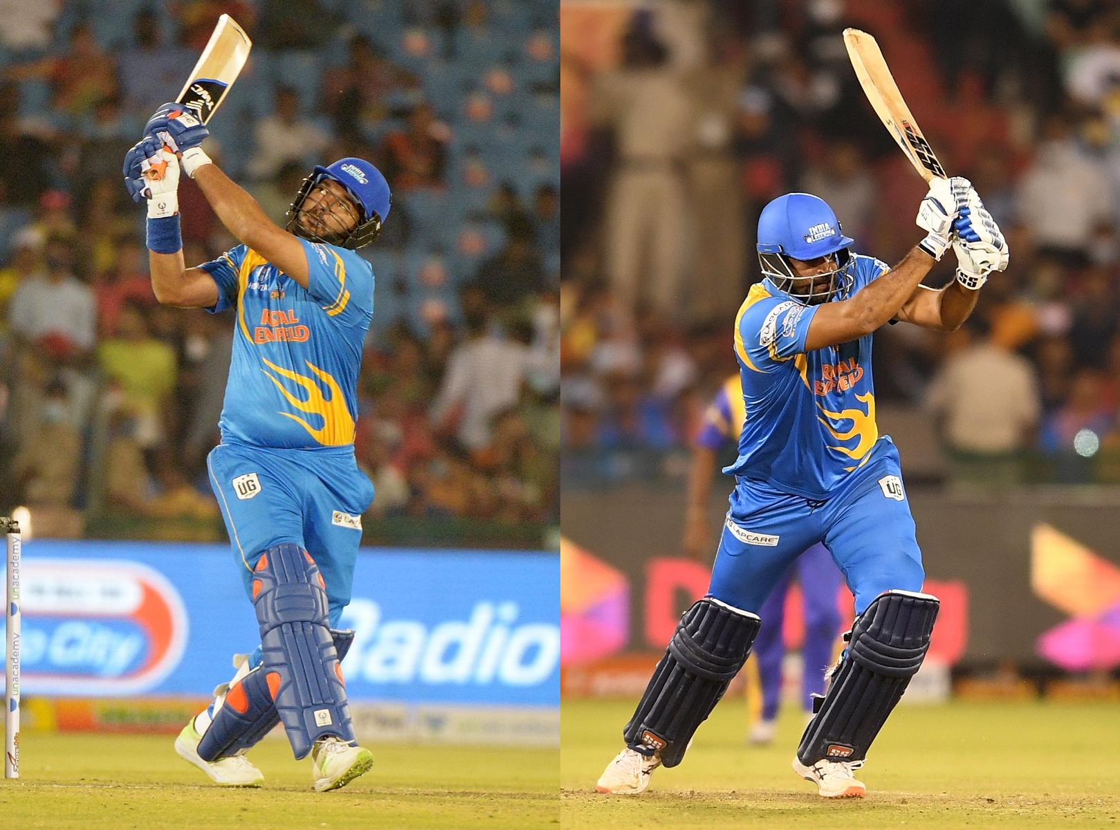 Yuvraj Singh and Yusuf Pathan hammered Sri Lanka Legends bowling   RSWS