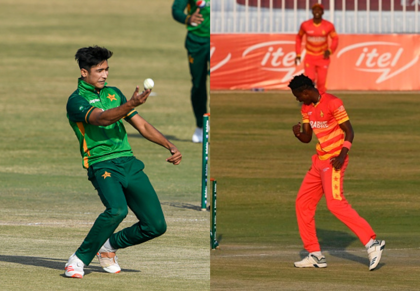 Hasnain and Muzarabani picked fifers for Pakistan and Zimbabwe respectively   Getty