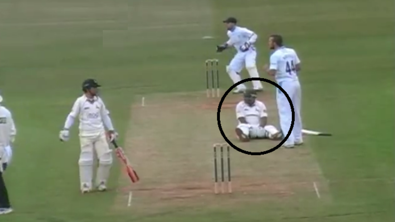 Screenshot from the Infamous Samit Patel run out video