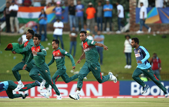 Bangladeshi players came running towards their Indian counterparts after the win | Getty