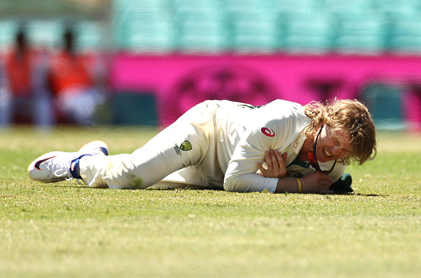 Will Pucovski landed heavily at the SCG after he dived for the ball | Getty Images