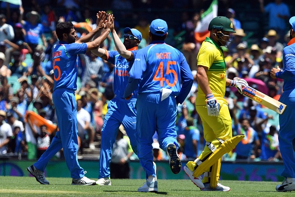 Bhuvneshwar Kumar celebrates after dismissing Aaron Finch in the first ODI at SCG | Getty