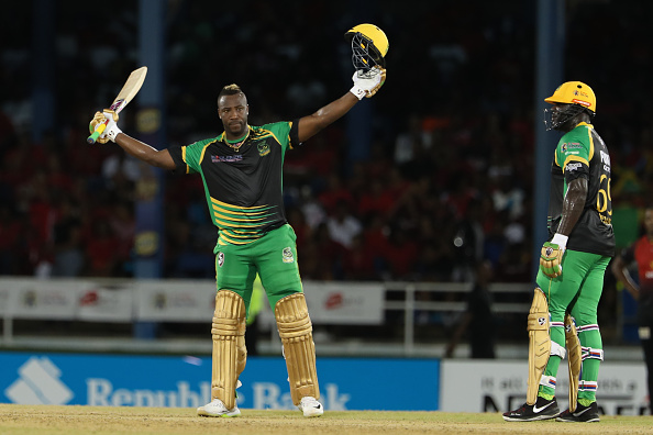 Andre Russell celebrates his wonderful 40 ball hundred | Getty