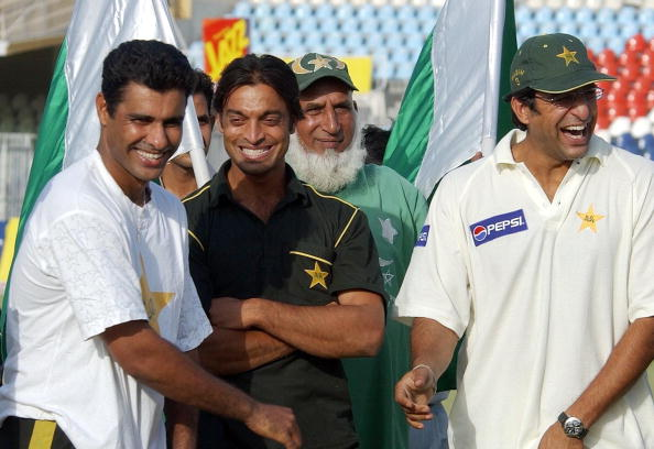 Akhtar with Wasim Akram and Waqar Younis | AFP