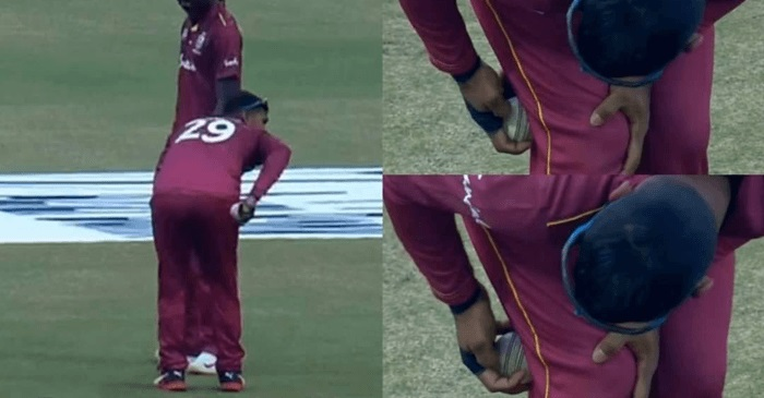 Pooran was caught on camera using nails on the ball | Screengrab