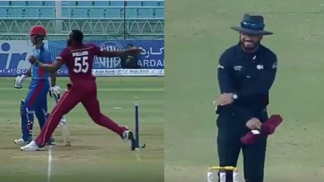 AFG v WI 2019: WATCH- Kieron Pollard shows presence of mind, pulling out of delivery after no-ball called