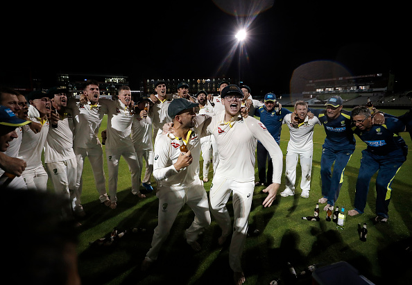 Aussies celebrating an amazing win in fourth Test at Old Trafford on Sunday | Getty