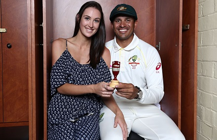 Usman Khawaja and his fiance Rachel McLellan poses for a click with Urn | Getty Images