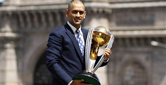 MS Dhoni with the 2011 ICC World Cup | Getty