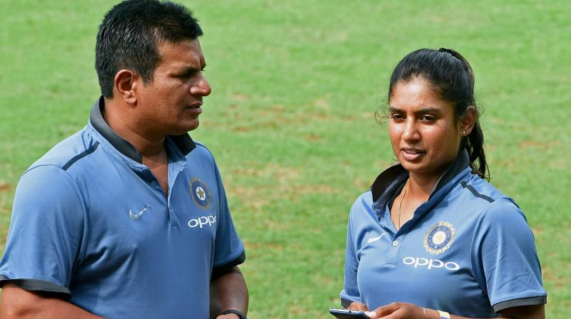 Head coach of Indian women's team Tushar Arothe with Mithali Raj