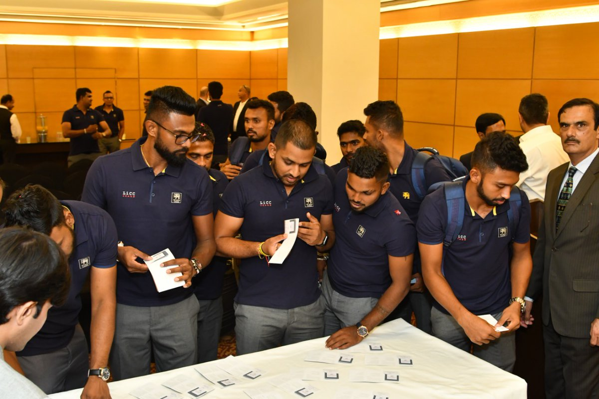 Sri Lanka team in Karachi | Twiiter PCB