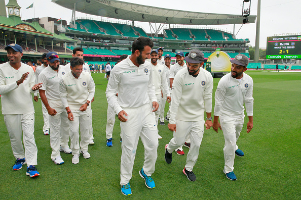 Cheteshwar Pujara dragged by his teammates to dance | GETTY