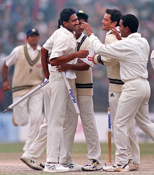 Anil Kumble celebrates his 10/74 against Pakistan in Delhi 1999 | Getty
