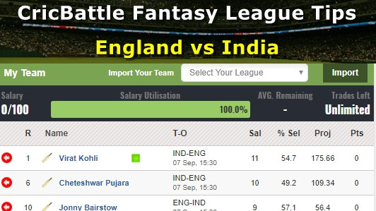 Fantasy Tips - England vs India on September 7