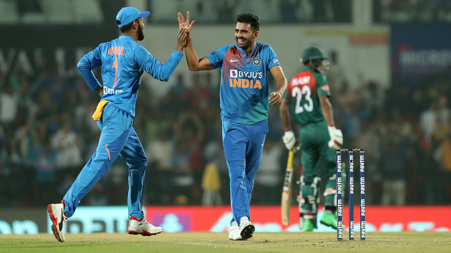 Deepak Chahar's brilliance with the ball helped India to win the T20I series against Bangladesh   AFP
